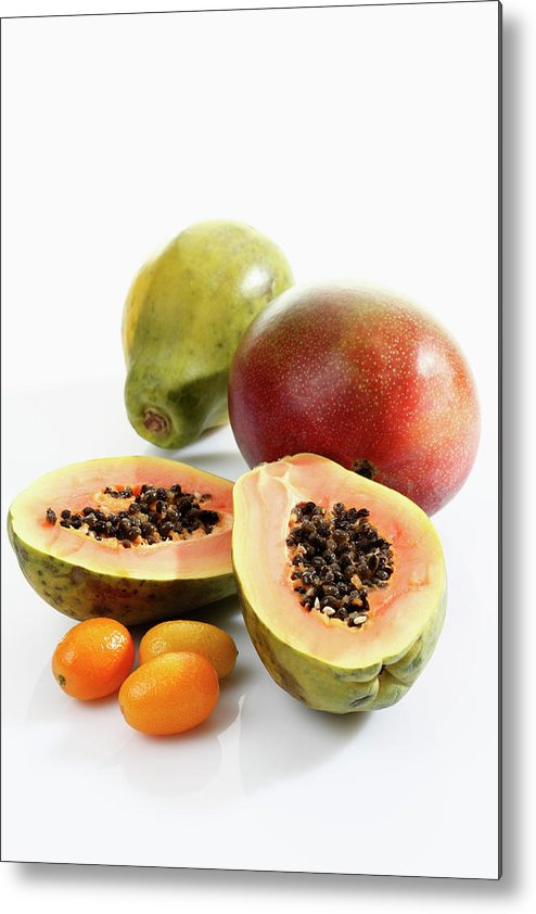 Mango Fruit Metal Print featuring the photograph Variety Of Fruits On White Background by Westend61