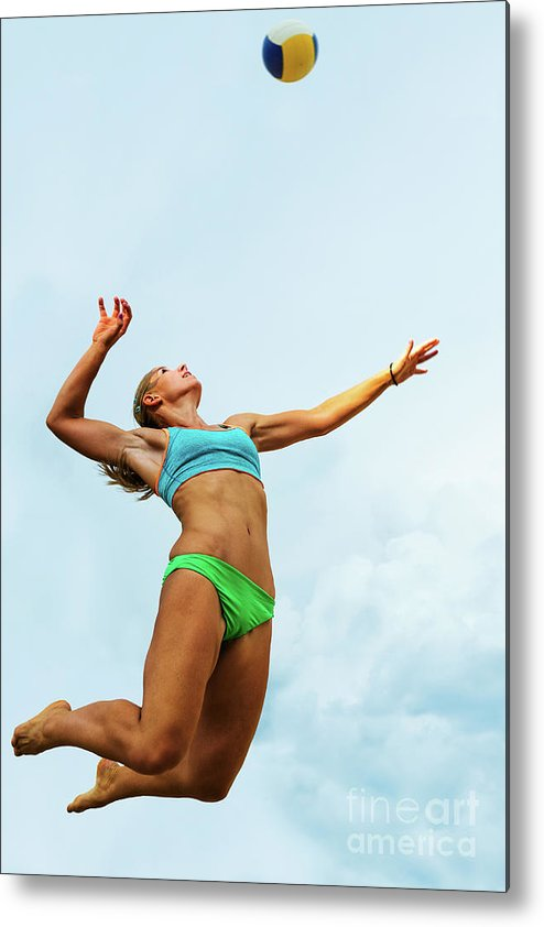Human Arm Metal Print featuring the photograph Volleyball Player Serving In Mid-air by Technotr