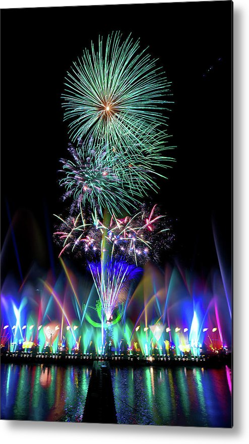 Firework Display Metal Print featuring the photograph Water Dancing Festival by Taiwan Nans0410