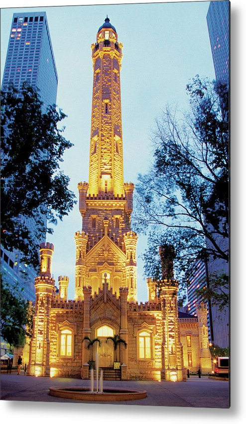 Travel16 Metal Print featuring the photograph Water Tower At Night In Chicago by Medioimages/photodisc