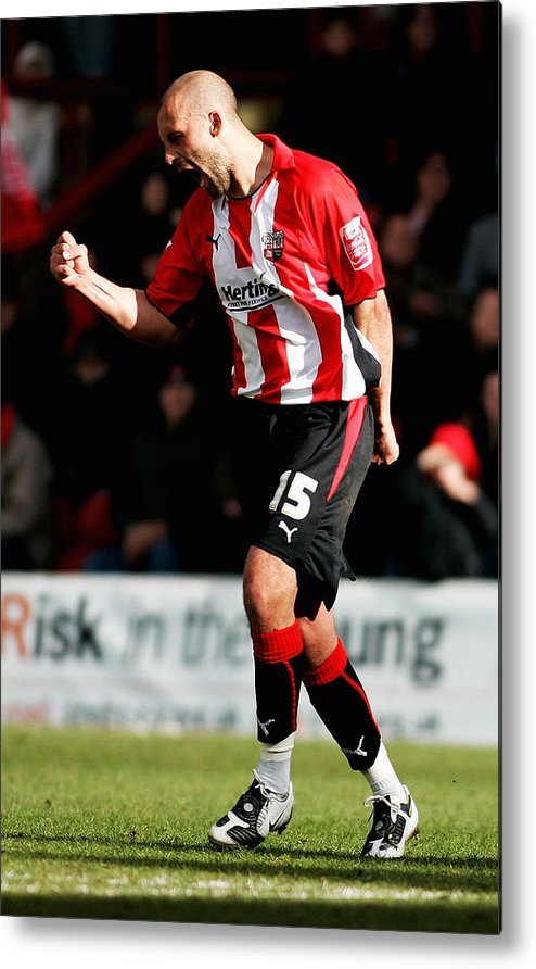 Scoring Metal Print featuring the photograph Brentford v Gillingham by Dean Mouhtaropoulos