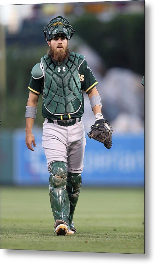 American League Baseball Metal Print featuring the photograph Derek Norris by Paul Spinelli