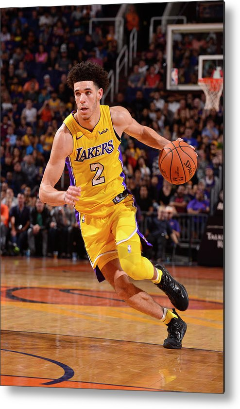 Nba Pro Basketball Metal Print featuring the photograph Lonzo Ball by Barry Gossage