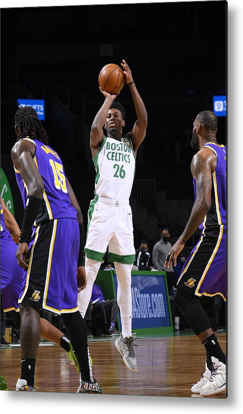 Nba Pro Basketball Metal Print featuring the photograph Los Angeles Lakers v Boston Celtics by Brian Babineau