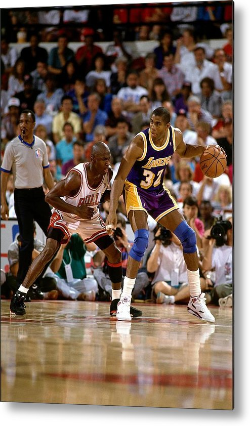 Nba Pro Basketball Metal Print featuring the photograph Magic Johnson and Michael Jordan by Andrew D. Bernstein