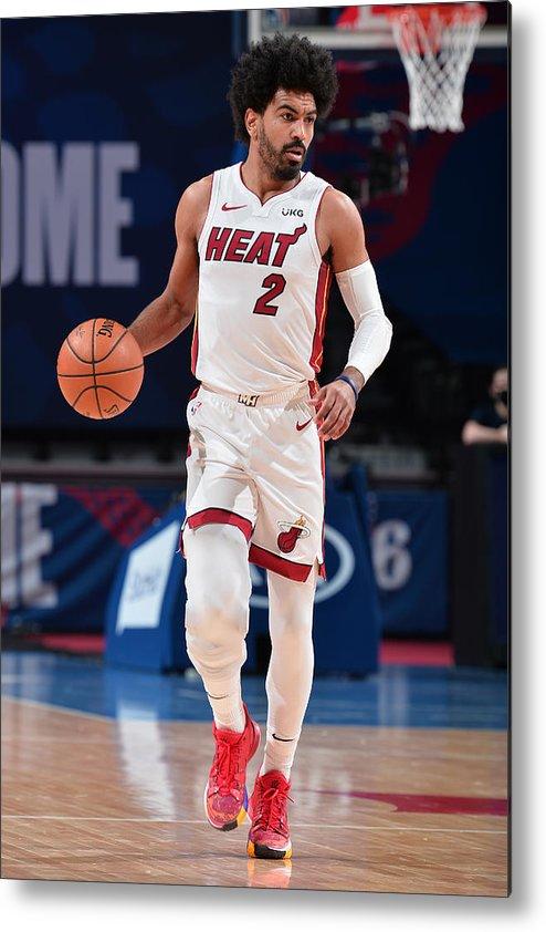 Nba Pro Basketball Metal Print featuring the photograph Miami Heat v Philadelphia 76ers by David Dow