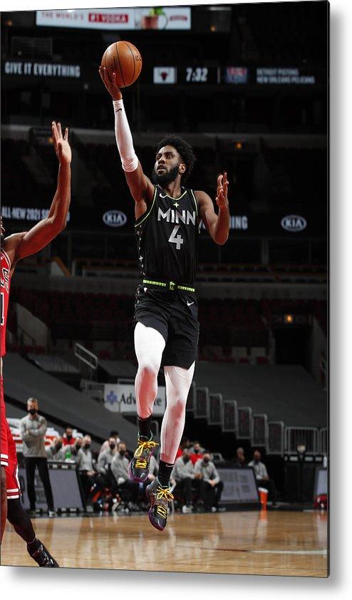 Nba Pro Basketball Metal Print featuring the photograph Minnesota Timberwolves v Chicago Bulls by Jeff Haynes