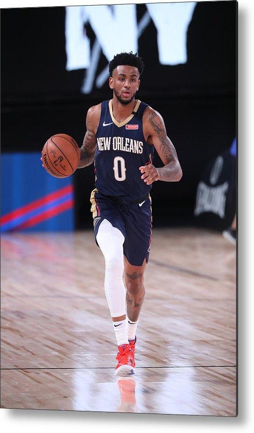 Nba Pro Basketball Metal Print featuring the photograph New Orleans Pelicans v Brooklyn Nets by Joe Murphy