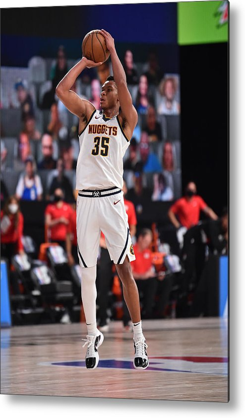 Nba Pro Basketball Metal Print featuring the photograph Portland Trail Blazers v Denver Nuggets by David Dow