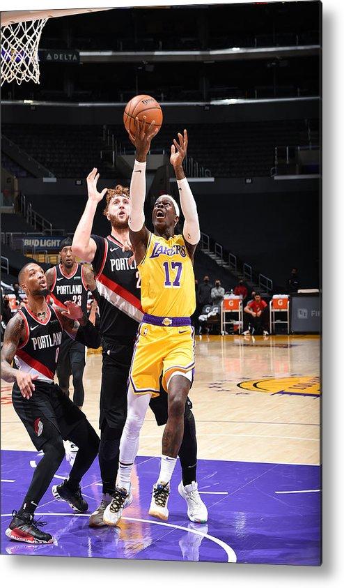 Nba Pro Basketball Metal Print featuring the photograph Portland Trail Blazers v LA Lakers by Adam Pantozzi