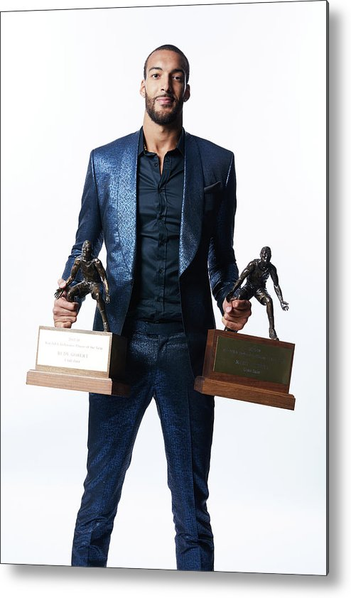 Nba Pro Basketball Metal Print featuring the photograph Rudy Gobert by Atiba Jefferson