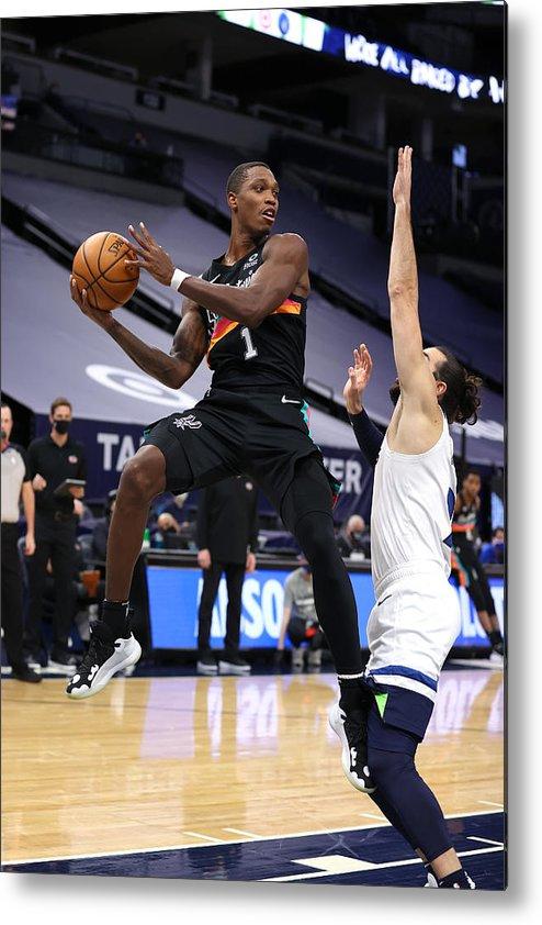 Nba Pro Basketball Metal Print featuring the photograph San Antonio Spurs v Minnesota Timberwolves by Jordan Johnson