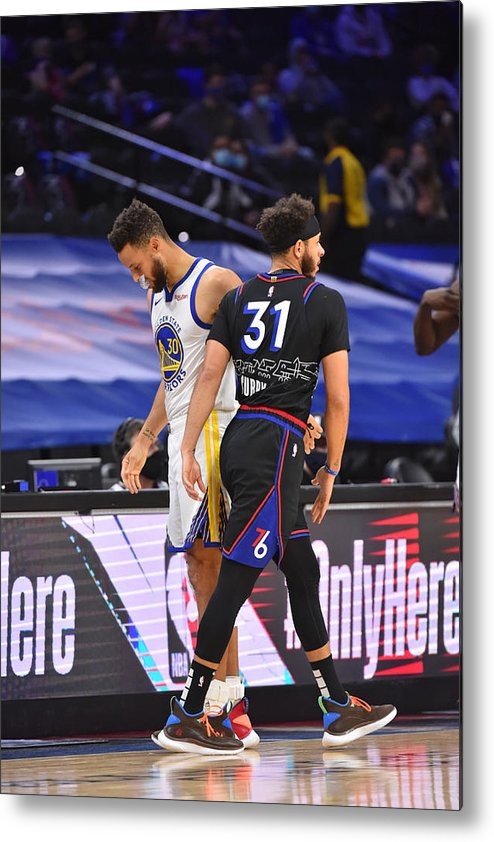 Nba Pro Basketball Metal Print featuring the photograph Stephen Curry and Seth Curry by Jesse D. Garrabrant