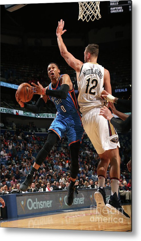 Smoothie King Center Metal Print featuring the photograph Russell Westbrook by Layne Murdoch