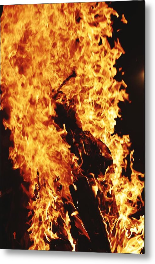 Campfire Metal Print featuring the photograph Closeup of Fire at time of festival by Ravindra Kumar