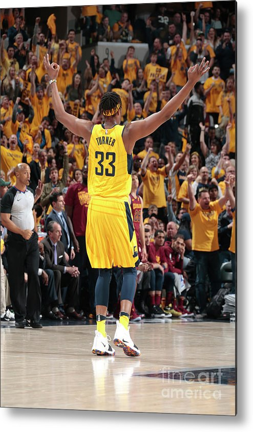 Playoffs Metal Print featuring the photograph Myles Turner by Ron Hoskins