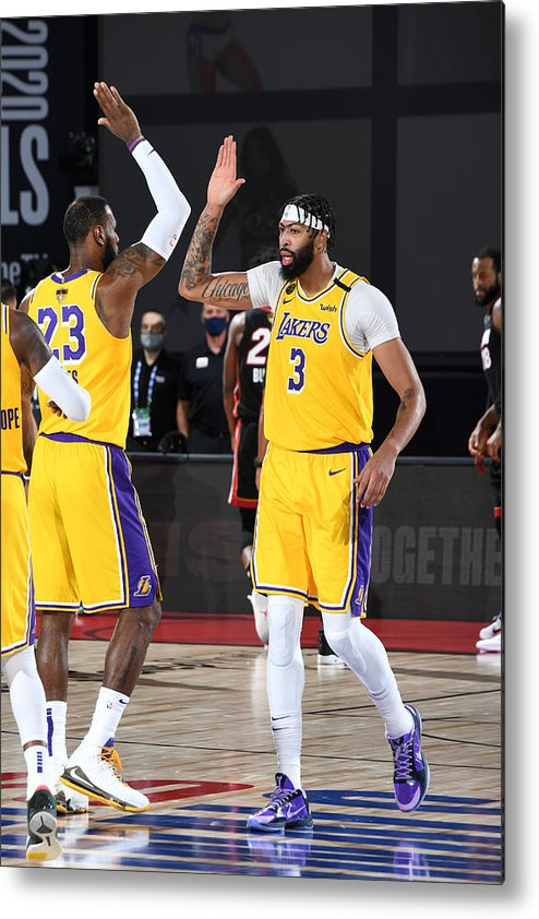 Playoffs Metal Print featuring the photograph Anthony Davis and Lebron James by Andrew D. Bernstein