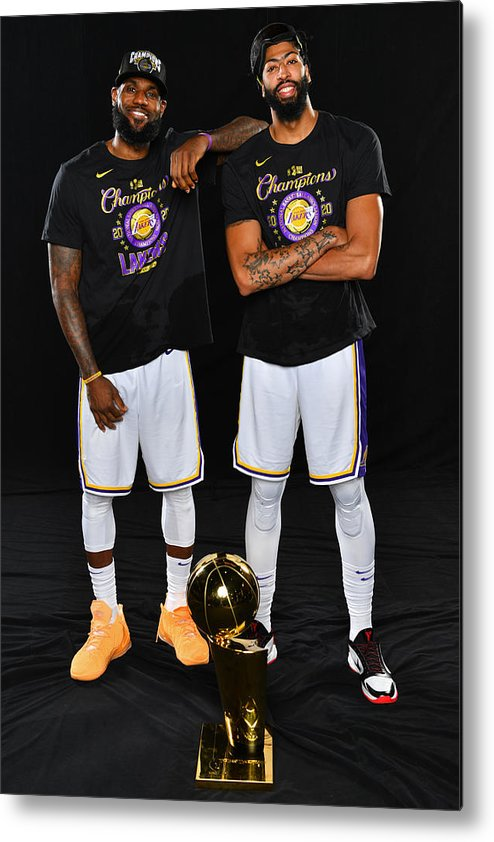Playoffs Metal Print featuring the photograph Anthony Davis and Lebron James by Jesse D. Garrabrant