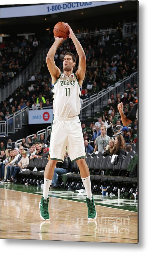 Nba Pro Basketball Metal Print featuring the photograph Brook Lopez by Gary Dineen