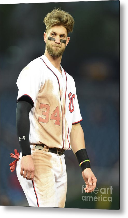 Three Quarter Length Metal Print featuring the photograph Bryce Harper by Mitchell Layton