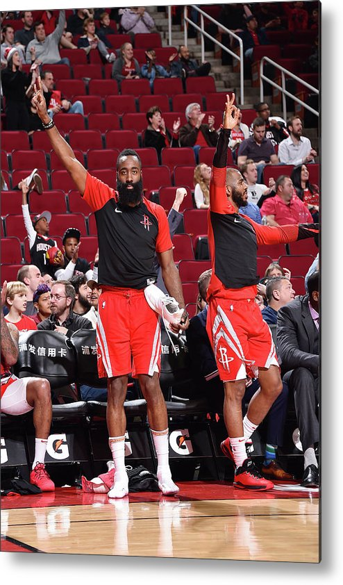 Nba Pro Basketball Metal Print featuring the photograph Chris Paul and James Harden by Bill Baptist