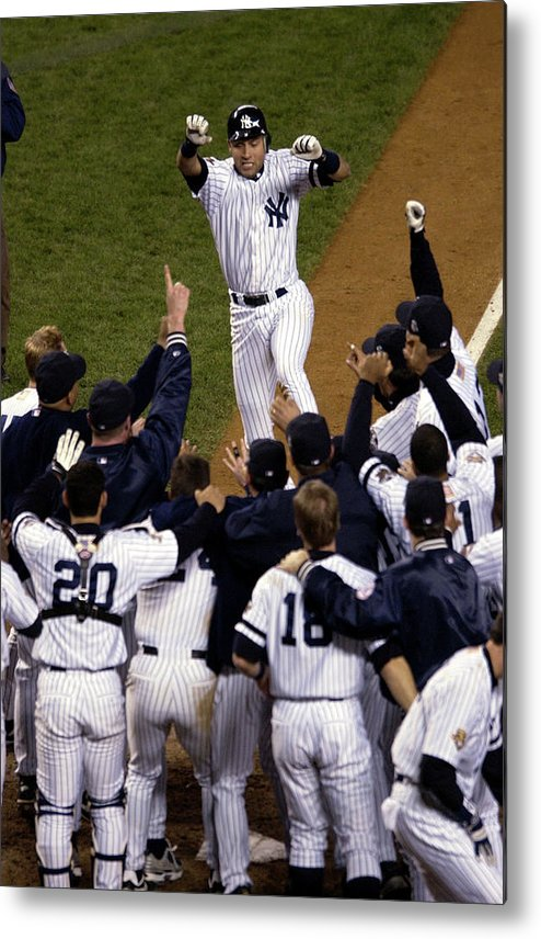 Celebration Metal Print featuring the photograph Derek Jeter by Ezra Shaw