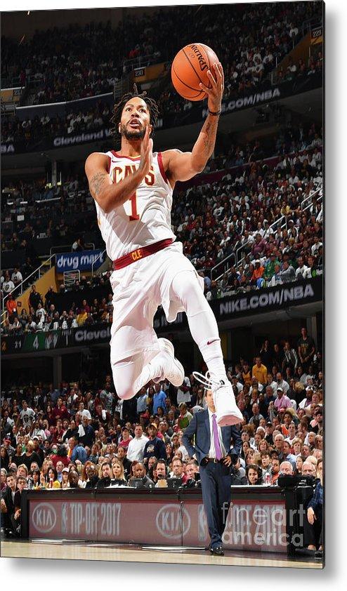 Nba Pro Basketball Metal Print featuring the photograph Derrick Rose by Jesse D. Garrabrant