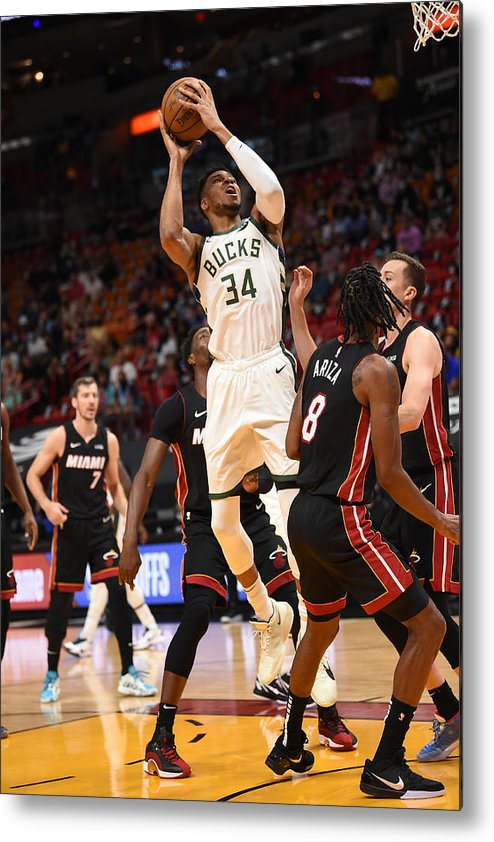 Playoffs Metal Print featuring the photograph Giannis Antetokounmpo by David Dow