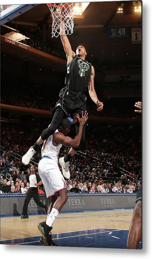 Tim Hardaway Jr. Metal Print featuring the photograph Giannis Antetokounmpo by Ned Dishman