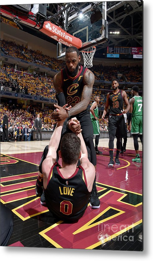 Playoffs Metal Print featuring the photograph Kevin Love and Lebron James by David Liam Kyle