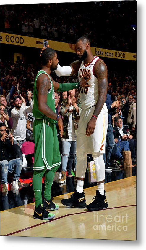 Nba Pro Basketball Metal Print featuring the photograph Kyrie Irving and Lebron James by Jesse D. Garrabrant