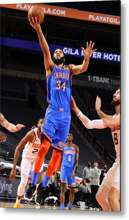 Nba Pro Basketball Metal Print featuring the photograph Oklahoma City Thunder v Phoenix Suns by Barry Gossage
