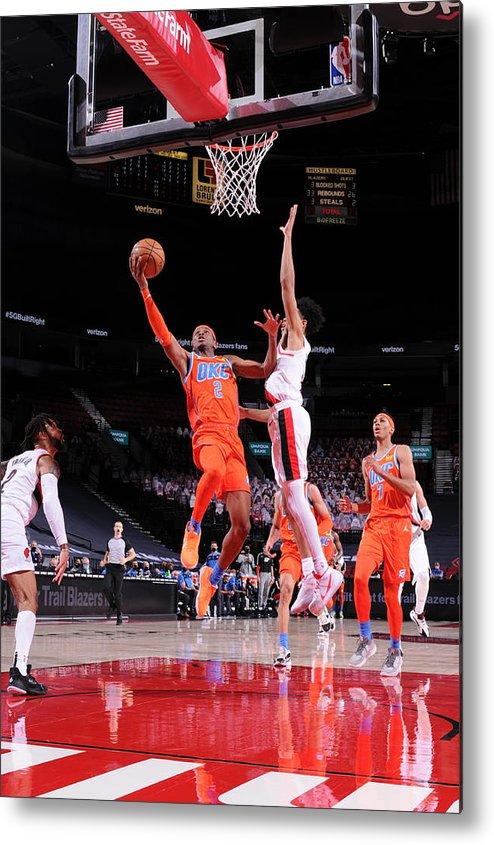 Nba Pro Basketball Metal Print featuring the photograph Oklahoma City Thunder v Portland Trail Blazers by Sam Forencich