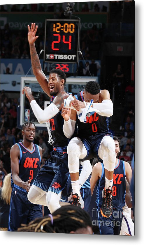 Nba Pro Basketball Metal Print featuring the photograph Paul George and Russell Westbrook by Zach Beeker