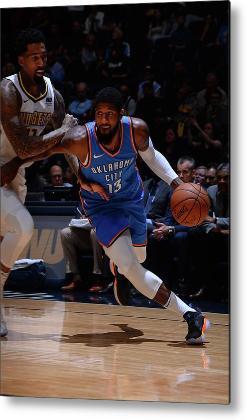 Nba Pro Basketball Metal Print featuring the photograph Paul George by Bart Young