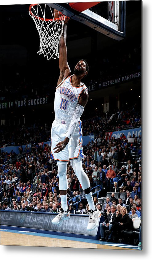 Nba Pro Basketball Metal Print featuring the photograph Paul George by Zach Beeker