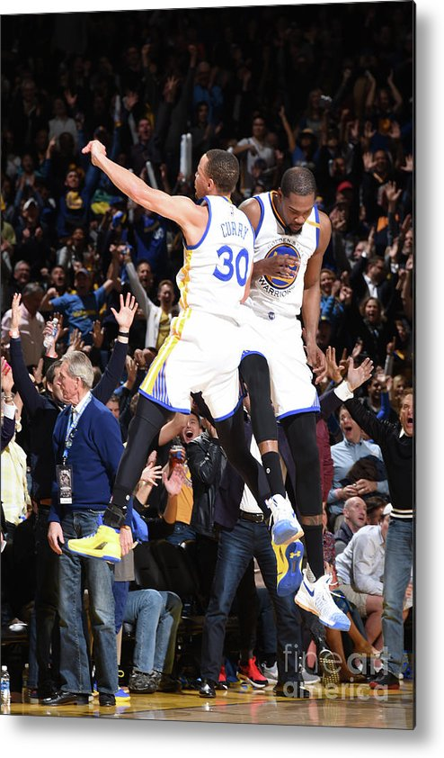Nba Pro Basketball Metal Print featuring the photograph Stephen Curry and Kevin Durant by Andrew D. Bernstein