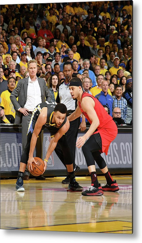 Playoffs Metal Print featuring the photograph Stephen Curry and Seth Curry by Noah Graham