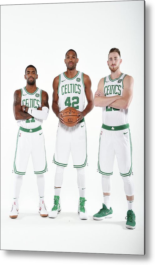 Media Day Metal Print featuring the photograph Al Horford, Kyrie Irving, and Gordon Hayward by Brian Babineau