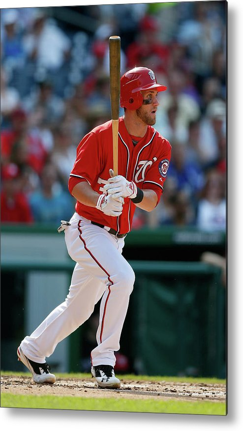 Following Metal Print featuring the photograph Bryce Harper by Rob Carr