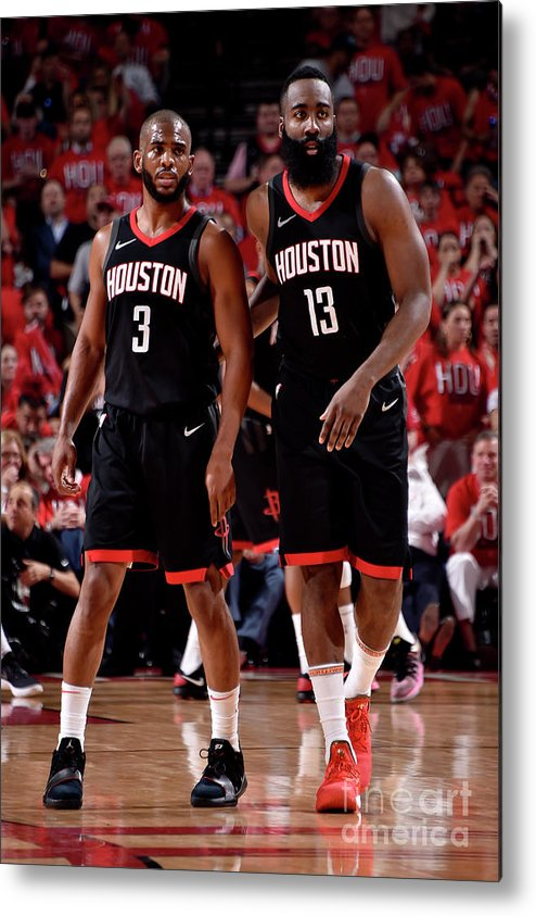 Playoffs Metal Print featuring the photograph Chris Paul and James Harden by Bill Baptist