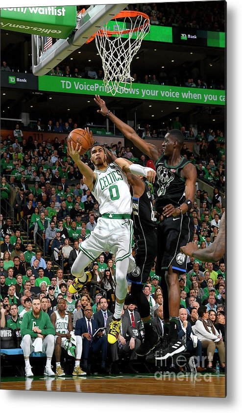Playoffs Metal Print featuring the photograph Jayson Tatum by Brian Babineau