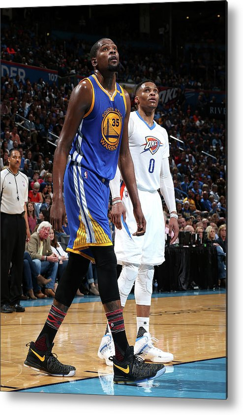 Nba Pro Basketball Metal Print featuring the photograph Kevin Durant and Russell Westbrook by Layne Murdoch