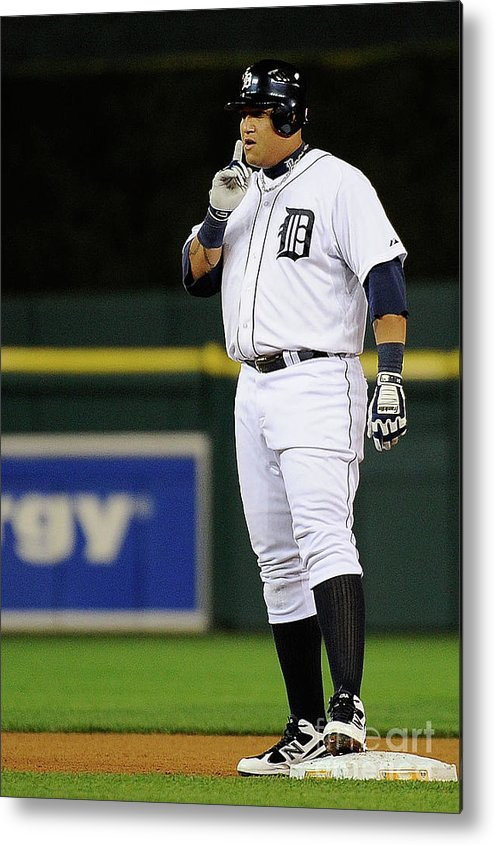 American League Baseball Metal Print featuring the photograph Miguel Cabrera by Kevork Djansezian