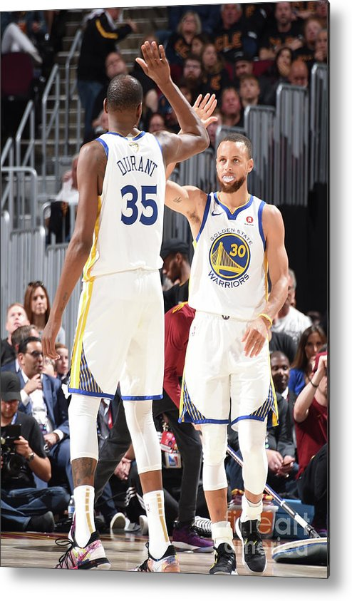 Playoffs Metal Print featuring the photograph Stephen Curry and Kevin Durant by Andrew D. Bernstein