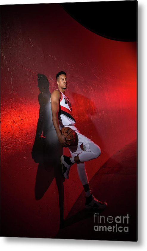 Media Day Metal Print featuring the photograph C.j. Mccollum by Sam Forencich