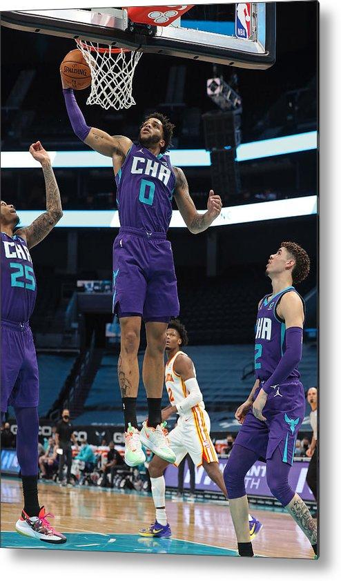 Nba Pro Basketball Metal Print featuring the photograph Atlanta Hawks v Charlotte Hornets by Brock Williams-Smith