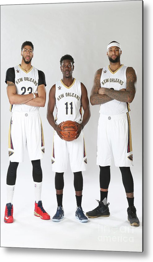 Nba Pro Basketball Metal Print featuring the photograph Demarcus Cousins, Jrue Holiday, and Anthony Davis by Layne Murdoch