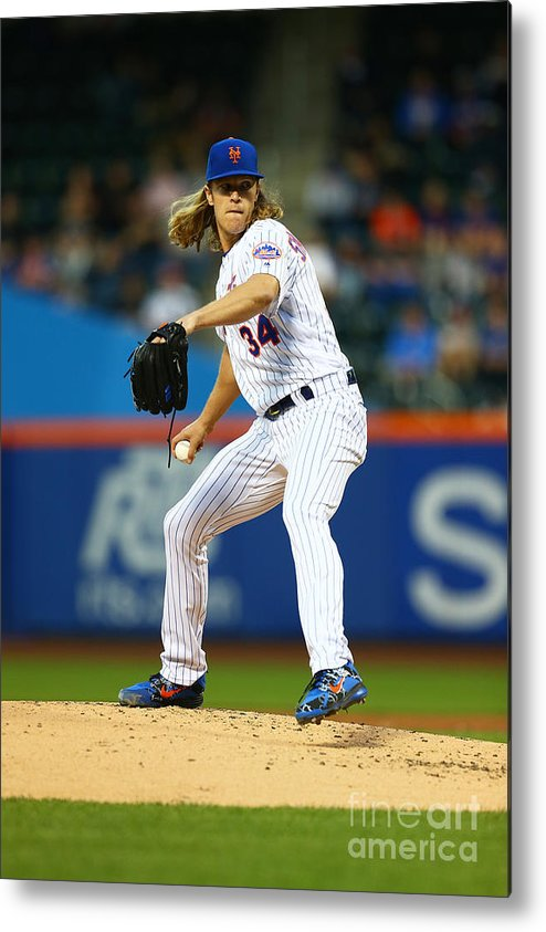 Second Inning Metal Print featuring the photograph Noah Syndergaard by Mike Stobe