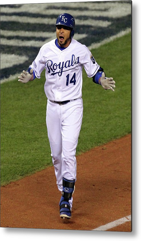 Game Two Metal Print featuring the photograph Omar Infante by Ed Zurga